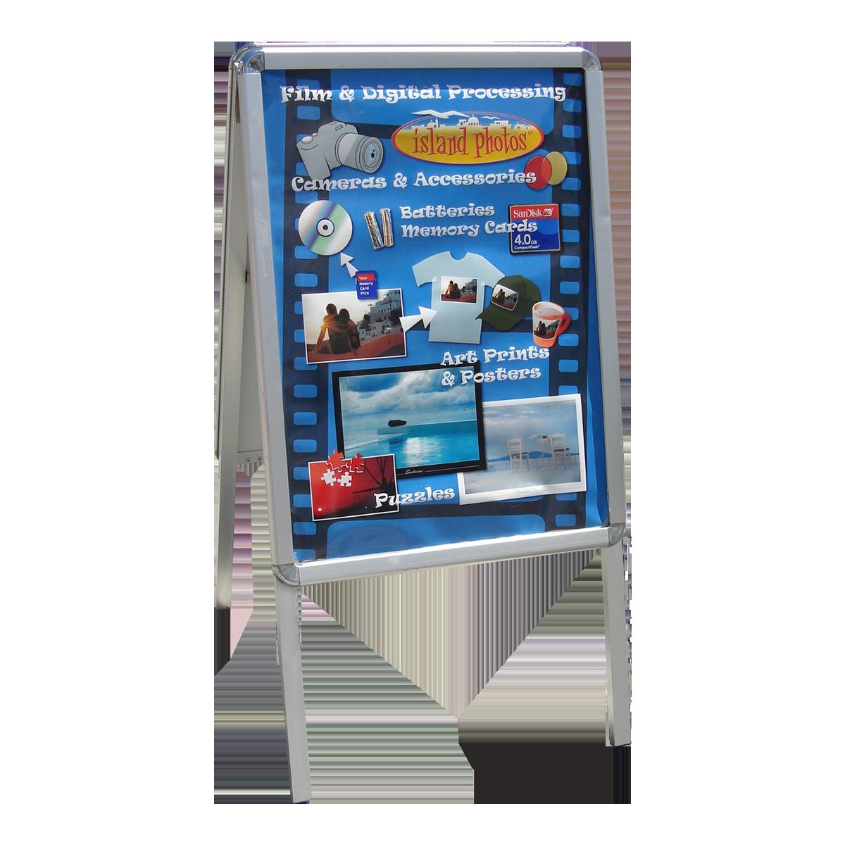 Cavalete dupla face com porta cartaz conecta sistemas modulares lightbox fandeluxe Gallery